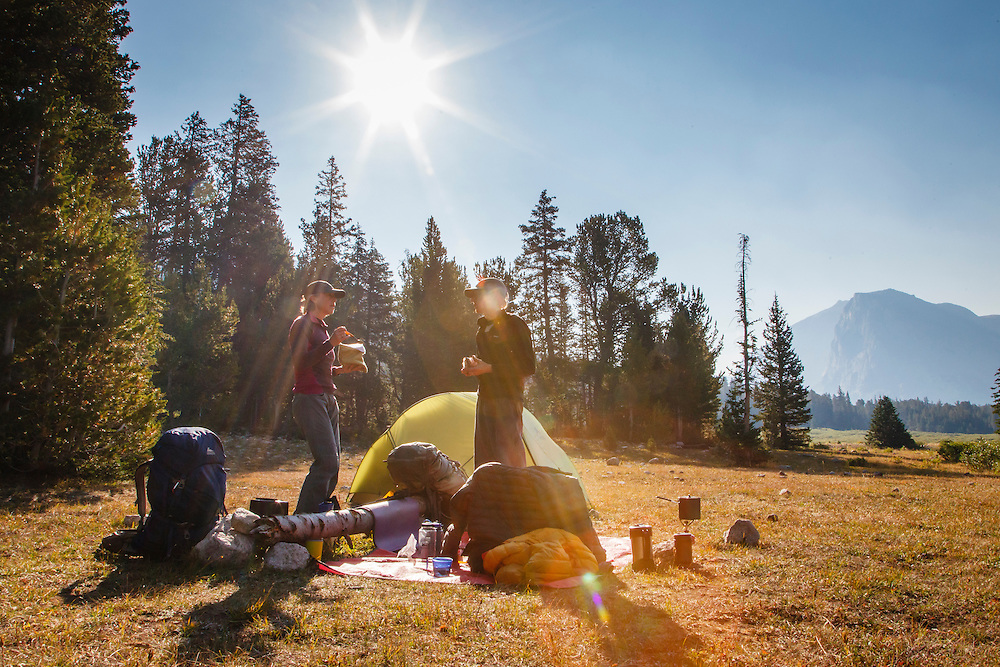 Breakfast at Lizardhead Meadows with Chip Self and Julie Daily, Wind River Range, Wyoming.