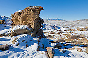 Rock outcrop with snow in the Bighorn Basin of Wyoming