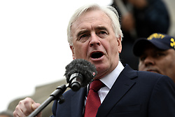 May 1, 2019 - London, Greater London, United Kingdom - MP John McDonnell seen speaking during the rally..Protesters marched through central London to a rally in Trafalgar Square demanding better salary and worker's rights on May Day. (Credit Image: © Andres Pantoja/SOPA Images via ZUMA Wire)