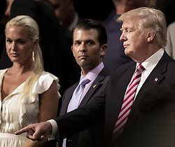 July 20, 2016 - Cleveland, Ohio, U.S - The Trump family at tonight's RNC session. L.R Vanessa Trwump Donald Trump Jr. Donald Trump Ivanka Trump, Tiffany Trump. (Credit Image: © Mark Reinstein via ZUMA Wire)