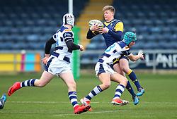 Noah Heward (Solihull School) of Worcester Warriors Under 18s us tackled - Mandatory by-line: Robbie Stephenson/JMP - 14/01/2018 - RUGBY - Sixways Stadium - Worcester, England - Worcester Warriors Under 18s v Yorkshire Carnegie Under 18s - Premiership Rugby U18 Academy