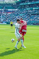 25.05.2019, Allianz Stadion, Wien, AUT, 1. FBL, SK Rapid Wien vs Cashpoint SCR Altach, Qualifikationsgruppe, 32. Spieltag, im Bild v.l. Stephan Auer (Rapid Wien), Jan Zwischenbrugger (SCR Altach) // during the tipico Bundesliga qualification group 32nd round match between SK Rapid Wien and Cashpoint SCR Altach at the Allianz Stadion in Wien, Austria on 2019/05/25. EXPA Pictures © 2019, PhotoCredit: EXPA/ Lukas Huter