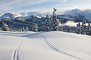 Ski tracks outside Elfin Lakes Hut in Garibaldi Provincial Park, British Columbia, Canada.