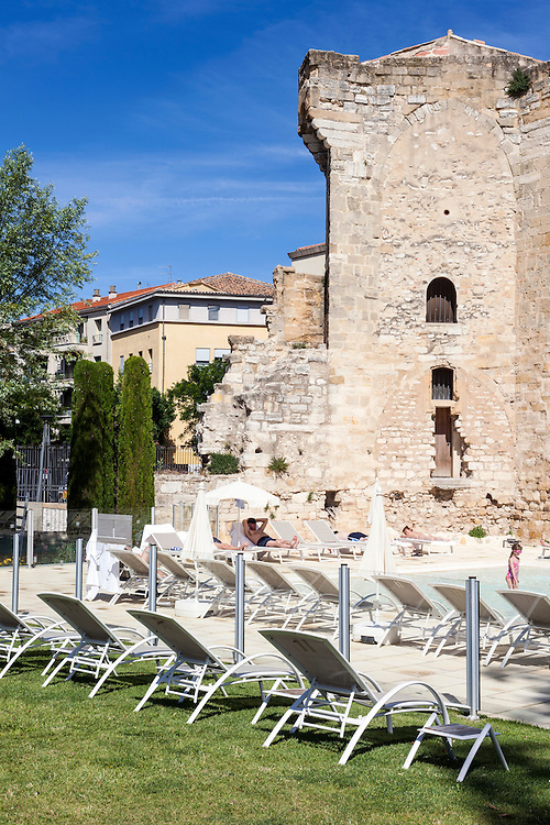Outside view of swimming pool of Thermes Sextius, largest wellness area in the heart of historical center of Aix-en-Provence - France - A unique place with a broad range of services dedicated to rejuvenation, balance and fitness.