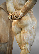 End of 2nd century beginning of 3rd century AD Roman marble sculpture of Hercules hand copied from the second half of the 4th century BC Hellanistic Greek original,  inv 6001, Farnese Collection, Museum of Archaeology, Italy ..<br /> <br /> If you prefer to buy from our ALAMY STOCK LIBRARY page at https://www.alamy.com/portfolio/paul-williams-funkystock/greco-roman-sculptures.html . Type -    Naples    - into LOWER SEARCH WITHIN GALLERY box - Refine search by adding a subject, place, background colour, etc.<br /> <br /> Visit our ROMAN WORLD PHOTO COLLECTIONS for more photos to download or buy as wall art prints https://funkystock.photoshelter.com/gallery-collection/The-Romans-Art-Artefacts-Antiquities-Historic-Sites-Pictures-Images/C0000r2uLJJo9_s0