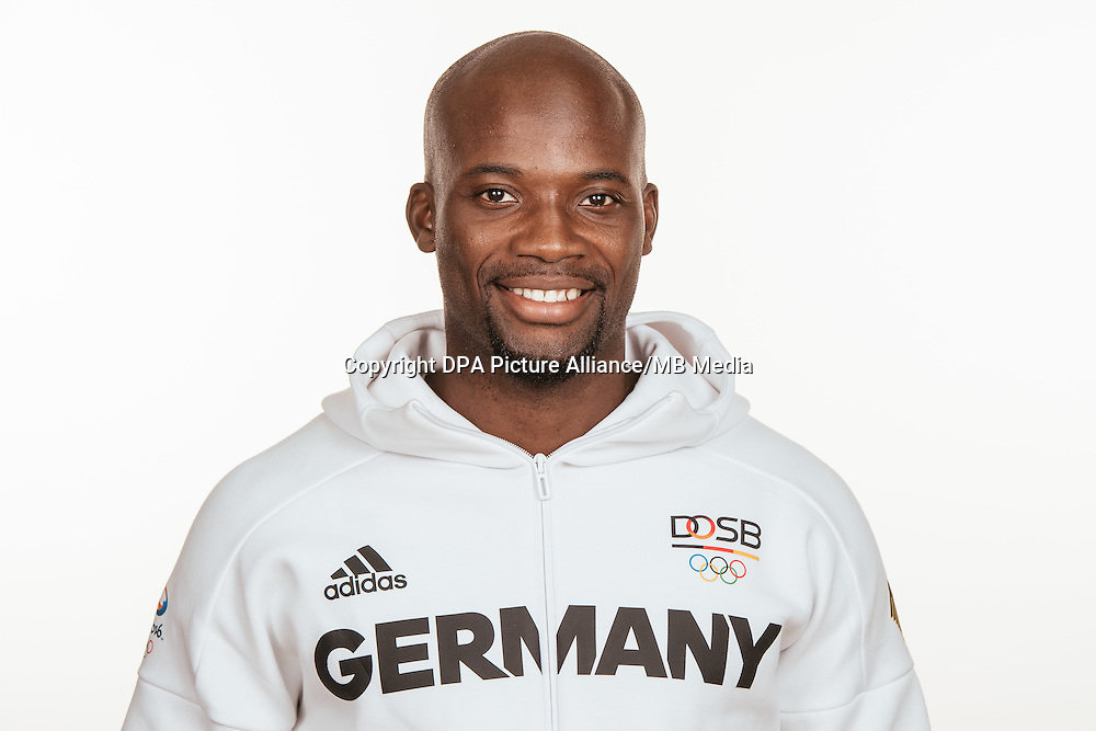 Aleixo Platini Menga poses at a photocall during the preparations for the Olympic Games in Rio at the Emmich Cambrai Barracks in Hanover, Germany, taken on 20/07/16   usage worldwide