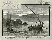 Engraving on Wood of Fishermen on the Sea of Galilee from Picturesque Palestine, Sinai and Egypt by Wilson, Charles William, Sir, 1836-1905; Lane-Poole, Stanley, 1854-1931 Volume 2. Published in New York by D. Appleton in 1881-1884
