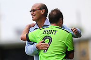 Forest Green Legends manager, Frank Greegan and Forest Green Legends Paul Hunt during the Trevor Horsley Memorial Match held at the New Lawn, Forest Green, United Kingdom on 19 May 2019.