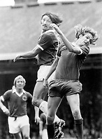 Phil Thompson - Liverpool (right) & Frank Worthington - Leicester City (left), Liverpool v Leicester City 1/9/73. Credit: Colorsport.