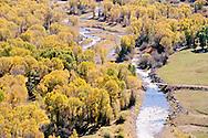 Provo River in Woodland, Utah, above Jordanelle Reservoir from aerial perspective