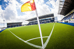The corner flag with the three stands at The Falkirk Stadium, with the new pitch work for the Scottish Championship game v Morton. The woven GreenFields MX synthetic turf and the surface has been specifically designed for football with 50mm tufts compared with the longer 65mm which has been used for mixed football and rugby uses.  It is fully FFA two star compliant and conforms to rules laid out by the SPL and SFL.<br /> ©Michael Schofield.