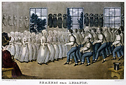 Mount Lebanon Shaker Community, Lebanon Springs, New York State. 'Dancing' at their Meeting. Lithograph by Currier and Ives, New York, c1870.