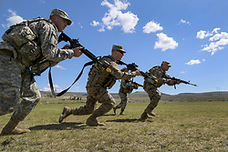 Apr 21, 2017 - Yakima, Washington, United States - Squad Movement. Soldiers bound forward during a squad movement exercise at the Yakima Training Center in Washington, April 21, 2017. The soldiers are assigned to the 20th Chemical, Biological, Radiological, Nuclear and Explosives Command. Army photo by Sgt. Kalie Jones. (Credit Image: ? Sgt. Kalie Jones/DoD via ZUMA Wire/ZUMAPRESS.com)