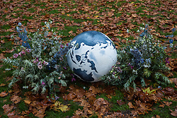 London, UK. 12 October, 2019. Tributes laid by climate activists from Extinction Rebellion during a 'grief ceremony' in Russell Square following a funeral procession from Marble Arch on the sixth day of International Rebellion protests. Credit: Mark Kerrison/Alamy Live News