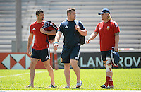 31 May 2013; British & Irish Lions players, from left, Rob Kearney, Cian Healy and Richard Hibbard during the captain's run ahead of their game against Barbarian FC on Saturday. British & Irish Lions Tour 2013, Squad Captain's Run, Aberdeen Sports Ground, Aberdeen, Hong Kong, China. Picture credit: Stephen McCarthy / SPORTSFILE