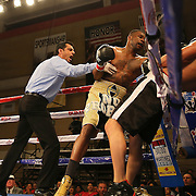 KISSIMMEE, FL - MARCH 06:  Nathaniel Gallimore (L) punches Robert Burwell during the Telemundo Boxeo boxing match at the Kissimmee Civic Center on March 6, 2015 in Kissimmee, Florida. Gallimore won the bout by TKO.  (Photo by Alex Menendez/Getty Images) *** Local Caption *** Nathaniel Gallimore; Robert Burwell