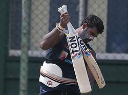 October 26, 2018 - Colombo, Sri Lanka - Sri Lanka's Twenty -20  cricket captain Thisara Perera during a net practice session ahead of the only Twenty-20 cricket match  between Sri Lankan and England at R Premadasa International Cricket ground, Colombo, Sri Lanka.10-26-2018  (Credit Image: © Tharaka Basnayaka/NurPhoto via ZUMA Press)
