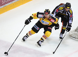 02.02.2016, Albert Schultz Eishalle, Wien, AUT, EBEL, UPC Vienna Capitals vs Dornbirner Eishockey Club, Platzierungsrunde, im Bild Simon Gamache (UPC Vienna Capitals) und Philipp Kreuzer (Dornbirner EC) // during the Erste Bank Icehockey League placement round match between UPC Vienna Capitals and Dornbirner Eishockey Club at the Albert Schultz Ice Arena, Vienna, Austria on 2016/02/02. EXPA Pictures © 2016, PhotoCredit: EXPA/ Thomas Haumer