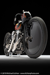 """The Petrali - Carlheim tribute bike was built by Justin Walls of BTTW (Built the Traditional Way) for Bobby Green of Old Crows Speed Shop from a 1948 big twin 80"""" UL Flathead Engine converted to overhead valves by Gus Carlhheim in the late 1940's for midget cars. The new bodywork hand fabricated by Justin is based on the original Joe Petrali land speed Knucklehead racer, although Justin improved both the design and the aerodynamics in his treatment. Photographed at the Born Free chopper show. Silverado, CA. USA. Sunday June 24, 2018. Photography ©2018 Michael Lichter. Photographed by Michael Lichter in Boulder, CO on 6/29/18. ©2018 Michael Lichter."""