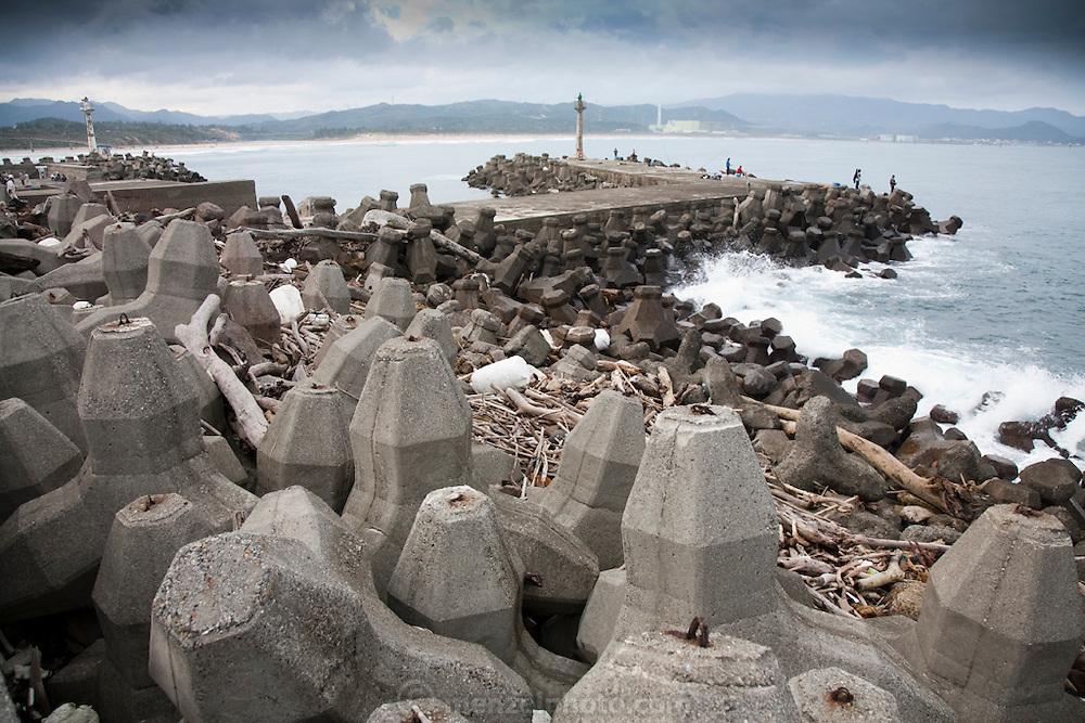Concrete blocks placed along the shoreline to prevent massive soil erosion near Nuclear Power Plant Number 4 in Fulong, Taiwan.
