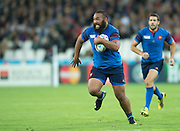 London, Great Britain,   Uini ATONIO, running withe ball during the Pool D game.  France vs Romania. 2015 Rugby World Cup. Venue. The Stadium Queen Elizabeth Olympic Park. Stratford. East London. England,, Wednesday  23/09/2015. <br /> [Mandatory Credit; Peter Spurrier/Intersport-images]
