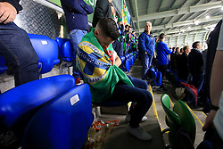 5th October 2017 - 2018 FIFA World Cup Qualifying (Group C) - Northern Ireland v Germany - A Northern Ireland fan goes to sleep following a long day on the beers - Photo: Simon Stacpoole / Offside.