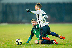 Janez Pisek of Slovenia and Lucas Hernandez of France during football match between National teams of Slovenia and France in UEFA European Under-21 Championship Qualification, on November 13, 2017 in Domzale, Slovenia. Photo by Vid Ponikvar / Sportida