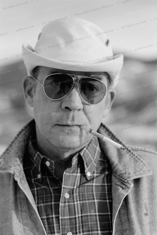 """Hunter S. Thompson, author of """"Fear and Loathing in Las Vegas"""".  Photographed at his home in Woody Creek, Colorado."""