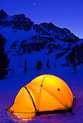 Winter camp under Piute Pass, Inyo National Forest, Sierra Nevada Mountains, California USA
