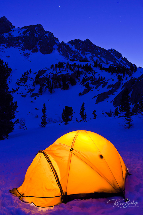 Winter camp under Piute Pass, Inyo National Forest, Sierra Nevada Mountains, California USA