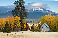 farmhouse with Mt Adams and lenticular cloud, Klickitat County, WA, USA