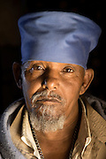 Portrait of a Priest inside Debre Damo Church, West of Adigrat, Tigray Region. Ethiopia, Horn of Africa