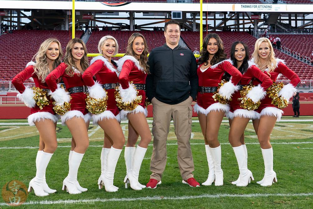 December 23, 2018; Santa Clara, CA, USA; (L-R) San Francisco 49ers Gold Rush cheerleaders Sophia, Charlese, Gilian, Lauren, Jordan, Emily, and Kirsten after the game against the Chicago Bears at Levi's Stadium.