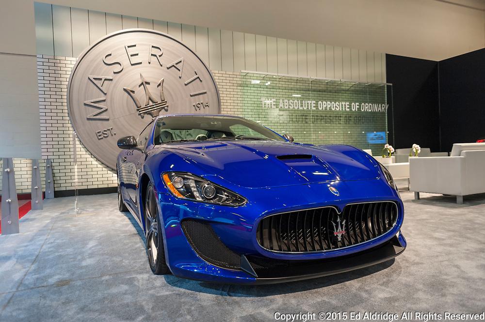 MIAMI BEACH, FL, USA - NOVEMBER 6, 2015: Maserati GranTurismo MC on display during the 2015 Miami International Auto Show at the Miami Beach Convention Center in downtown Miami Beach.
