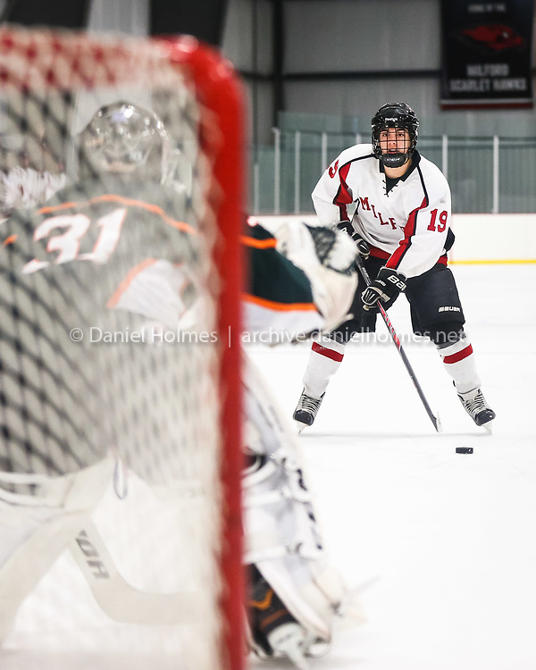 (2/17/14, HOPEDALE, MA) Milford's Drew Wilde takes a penalty shot and misses against Hopkinton during the boys hockey game at Blackstone Valley Ice Arena in Hopedale on Monday. Daily News and Wicked Local Photo/Dan Holmes