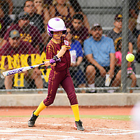 Alyssa Carrillo batting in the first inning for the Copper All Stars against Sunset at the Little League Softball State Tournament, Friday July 13.