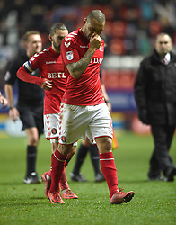 Charlton Athletic's Josh Magennis walks off the pitch at full time dejected after a home loss