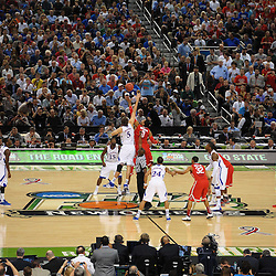 Mar 31, 2012; New Orleans, LA, USA; A general view of the tip off between Kansas Jayhawks center Jeff Withey (5) and Ohio State Buckeyes forward Jared Sullinger (0) at the start of the semifinals of the 2012 NCAA men's basketball Final Four at the Mercedes-Benz Superdome. Mandatory Credit: Derick E. Hingle-US PRESSWIRE