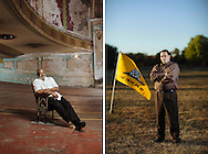 LEFT: Lonnie J. Williams, owner of LJ Building Maintenance, is attempting to raise funds to restore the historic Jayhawk State Theatre in Topeka, Kansas.<br /> RIGHT: Tea Party member Eric Wilson in Georgetown, Kentucky.
