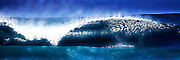 Stylized photographic artwork of a perfect wave at the famous Banzai Pipeline on the north shore of Oahu in Hawaii