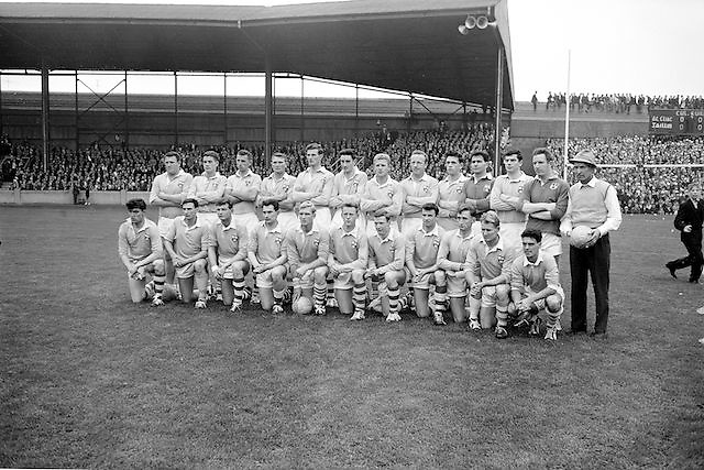 Dublin team before the All Ireland Senior Gaelic Football Championship Final Dublin V Galway at Croke Park on the 22nd September 1963. Dublin 1-9 Galway 0-10.<br /> <br /> Back Row Left to right  John (sean) Timmons, W Casey, M Kissane, L Foley, L Hickey, (10th from left ) P Flynn.<br /> <br /> Front Row Left to right.D McKane, M Whelan, P Holden, N Fox, D Foley (captain), G Davey, B Mac Donald, S Behan, (10th from left) D Ferguson.<br /> <br /> Unidentified team members.Substitutes: F McPhillips, C Kane, P Downey, A Donnelly and E Breslin..