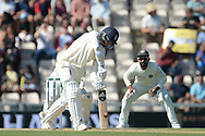Sam Curran of England hits the first boundary of the morning during the fourth day of the 4th SpecSavers International Test Match 2018 match between England and India at the Ageas Bowl, Southampton, United Kingdom on 2 September 2018.
