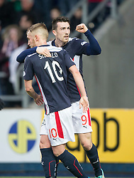 Falkirk's David Smith celebrates after scoring their second goal. <br /> Falkirk 2 v 1 Brechin City, Scottish Cup fifth round game played today at The Falkirk Stadium.