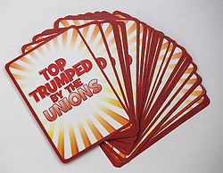 "© Licensed to London News Pictures . 29/09/2013 . Manchester , UK . "" Top Trumped by the Unions "" cards handed out at the Conservative Party Conference . The Conservative Party Conference at Manchester Central . Photo credit : Joel Goodman/LNP **FULL PACK OF 40 TRUMP CARDS AVAILABLE ON REQUEST**"