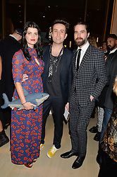 Left to right, PIXIE GELDOF, NICK GRIMSHAW and JACK GUINNESS at Fashions for The Future presented by Oceana's Junior Council held at Phillips Auction House, 30 Berkeley Square, London on 19th March 2015.