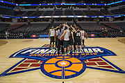 April 3, 2016; Indianapolis, Ind.; The UAA women's basketball team huddles at half court after their practice session at Harvest Pavilion on the Indiana State Fair grounds.