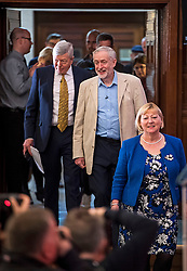 © Licensed to London News Pictures. 14/04/2016. London, UK. Former Home Secretary ALAN JOHNSON (left) Leader of the Labour Party JEREMY CORBYN (right) arrive to deliver a speech arguing the case for Britain remaining in Europe, at Senate House in London. The Uk is due to vote in and in out referendum in their membership of the EU on June 23rd, 2016.  Photo credit: Ben Cawthra/LNP