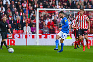 Ben Close of Portsmouth (33) passes the ball during the EFL Sky Bet League 1 first leg Play Off match between Sunderland and Portsmouth at the Stadium Of Light, Sunderland, England on 11 May 2019.