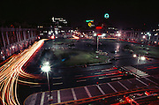 The Plaza San Martin in a nighttime time exposure with car traffic light streaks in Lima, Peru.