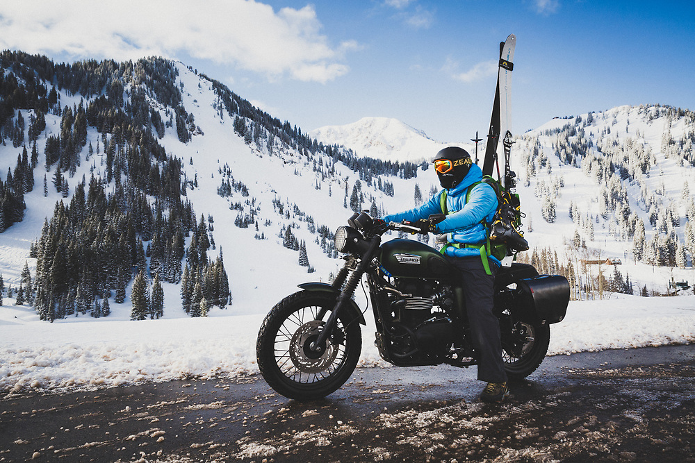 Mark Kogelmann commutes to Alta Ski Area on his mototcycle for a morning of skiing.